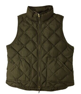 $32 • Buy Women's J Crew Olive Green Quilted Full Zip Front Fluffer Vest Down Fill Size XL