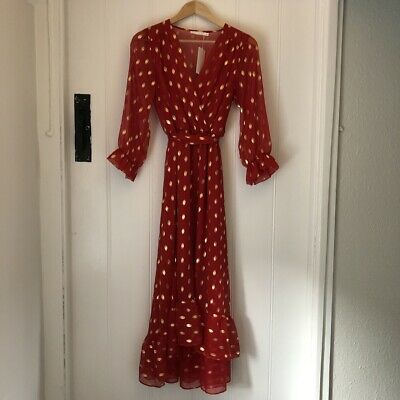 Red And Gold Polka Dot Dress With 3/4 Sleeves. Never Worn. Size 8-10. • 30£
