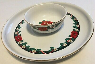 $9.99 • Buy Tienshan DECK THE HALLS Fine China *Chip & Dip Set Plate Bowl Poinsettia Holiday