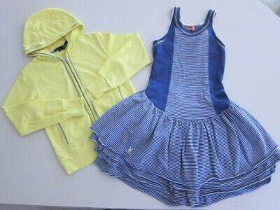$57 • Buy NEW Girls No Added Sugar Blue Stripe Dress With GYMP Hooded Zip Jacket Size 9-10