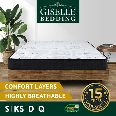 AU169 • Buy Giselle Mattress Queen Double King Single Bed Size Firm Foam Bonnell Spring 16cm