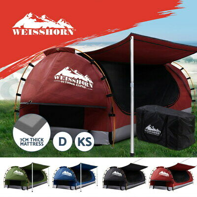 AU245.90 • Buy Weisshorn Double King Single Swag Camping Swags Canvas Dome Tent Hiking Beach