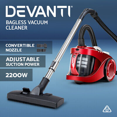 AU84.90 • Buy Devanti Bagless Vacuum Cleaner 2200W Cyclone Cyclonic HEPA Filtration System Red