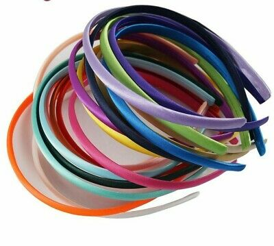 For Kid Girls Solid Satin Covered Headband 20 Pieces/Lot Candy Color Accessories • 10.17£