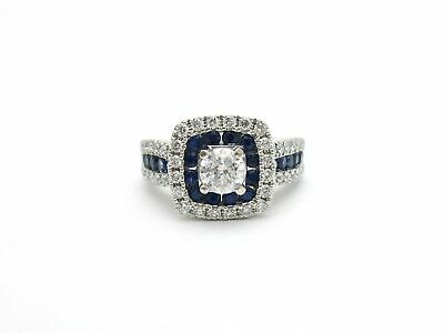 $975 • Buy Kabana Diamond And Sapphire Double Halo Engagement Ring 14k White Gold Sz 5