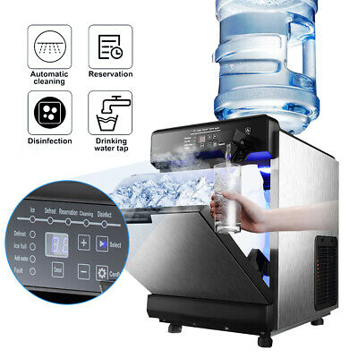 $370 • Buy 2 In 1 Commercial 50KG Ice Maker W/Water Dispenser 110LBS In 24Hrs 14LBS Storage