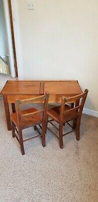 Vintage Old School Twin Children' Desk With Lift Up Lids And Chairs • 40£