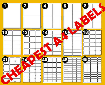 Address Labels A4 White Sticky Self Adhesive Sheets For Inkjet / Laser Printers • 3.19£