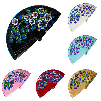 Real Wood Wooden Peacock Feather Double Sided Flamenco Dance Hand Held Fan NEW • 4.25£