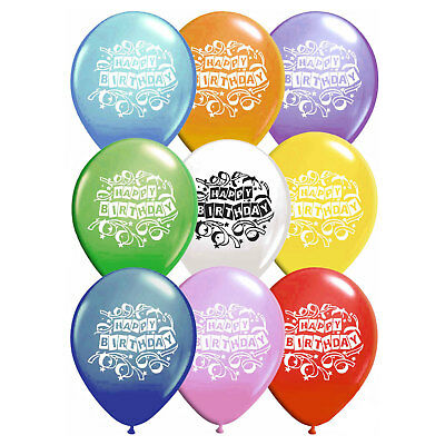 Fun Machine Happy Birthday Balloons 16 Pack Assorted Colours Latex Party • 2.95£