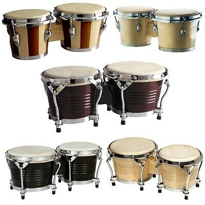 £69.99 • Buy Chase Wooden Bongo Drums Tuneable Natural Skins 7.5  & 6.5  With Chrome Hardware