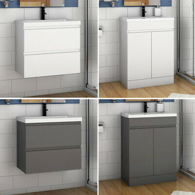 Freestanding Wall Hung Bathroom Sink Vanity Units Cabinet 500 600mm White Grey • 144.99£