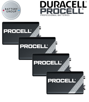 DURACELL Procell 9V Batteries Block PP3 Alkaline MN1604 INDUSTRIAL Use 4 Pack • 5.69£