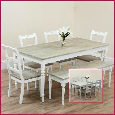 Wooden Dining Table Chairs Bench Rustic Shabby Chic Grey White Kitchen 4 6 Seat • 89.99£