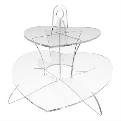 £16.79 • Buy Acrylic Cupcake Display Stand Cup Cake Party 2 Tier - Heart By Displaypro
