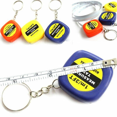 1m Mini Tape Measure Keyring 3ft Colourful Measuring Ruler Keychain Retractable • 1.89£