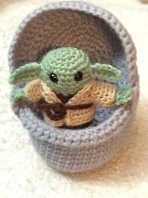 $57.86 • Buy Crochet Baby Yoda In Space Pod With 2 Robes
