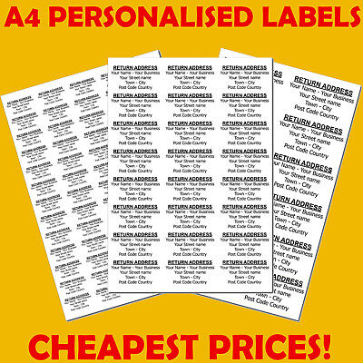 £2.45 • Buy Personalised Self Adhesive Pre Printed Sticky Return Address Labels On A4 Sheets