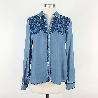 $ CDN34.01 • Buy Anthropologie Holding Horses Embroidered Top Sz S  Womens Chambray Button Small