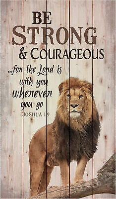 Be Strong And Courageous Lion Design 24 X 14 Wood Pallet Wall Art Sign Plaque • 30.97£