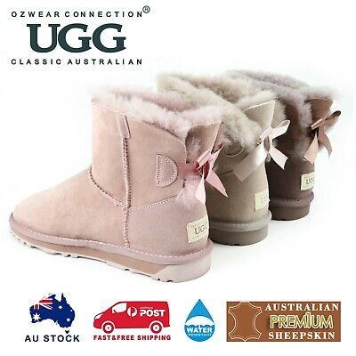 AU75 • Buy Ozwear Ugg Classic Mini Bailey Bow Boots(water Resistant) Ob365n