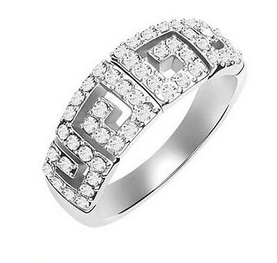 Silver Ladies Rings Size Medium O Silver With Clear Stones Wall Design Ring FR15 • 4.75£