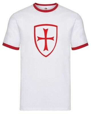 St.George Cross And Shield Ringer T-shirt - St.George's Day, England, S-XXL • 16.99£