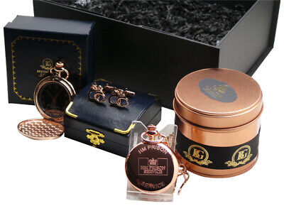 Personalised HMP PRISON GIFT HAMPER Gold Pocket Watch And HANDCUFFS Cufflinks  • 39.95£