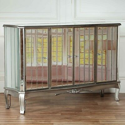 £340 • Buy French Style Champagne Silver Mirrored Four Door Venetian Glass Large Sideboard