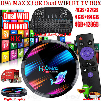 AU89.15 • Buy H96 MAX 8K Android 9.0 5G WIFI BT 32/64/128G TV BOX Keyboard Amlogic S905X3 USB