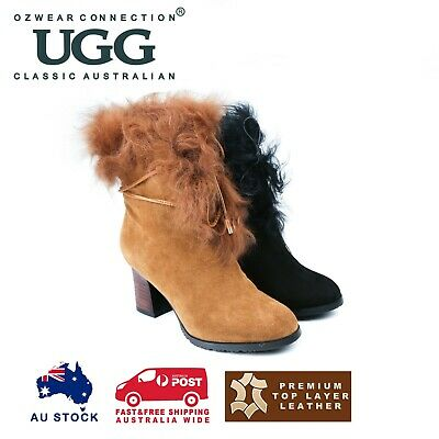 AU67 • Buy Ozwear Ugg Leah Fur Lined Heel Boots 2 Colours Ob352