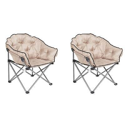 $204.99 • Buy Mac Sports Foldable Padded Outdoor Club Chair With Carry Bag, Beige (2 Pack)