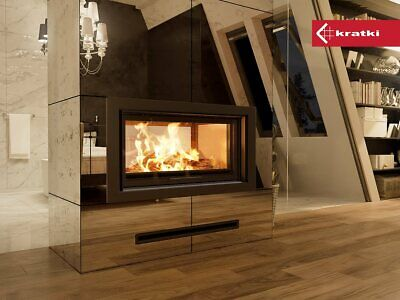 MASSIVE GLASS DOUBLE SIDE CASSETTE STOVE Insert Inset Woodburning Multi Fuel   • 2,299£