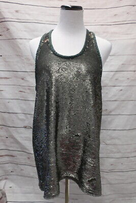$ CDN329.49 • Buy IRO Sequin Tank Top Wiley Gray Size 2 Leather-Trim Racerback NEW