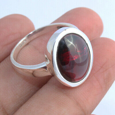Large Oval Garnet Gemstone Solid Sterling Silver Ring Gift Jewelry - ANY SIZE • 17.99£