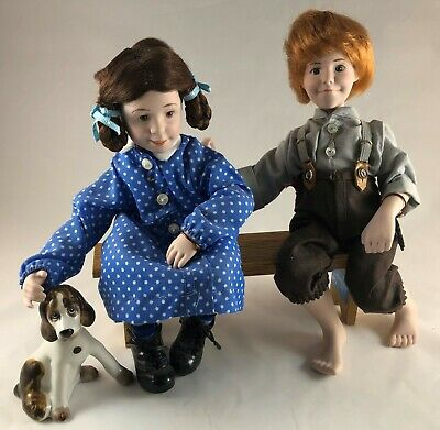 $24.88 • Buy Mary & John Norman Rockwell Porcelain Character Doll Rumble Figurine Bench Dog