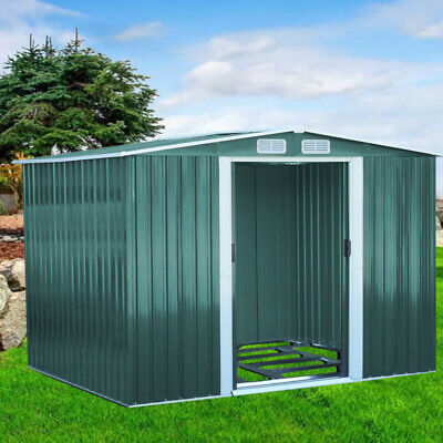 New 8 X 8 Metal Garden Shed Galvanised Steel Apex Roof Outdoor Tool Storage Shed • 355.95£
