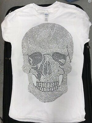 £18 • Buy XLarge Silver Skull Hotfix Iron-On T Shirt Hoodie Patch Transfer Only