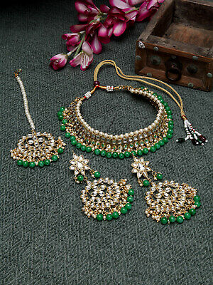 $14.99 • Buy Indian Necklace Bollywood Bridal Jewelry Bollywood Polki Kundan Earrings Sets