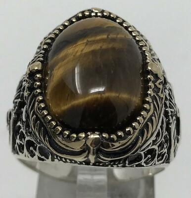 $43.49 • Buy 925 Sterling Silver Natural Certified 7 Ct Oval  Cats Eye Christmas Mens Ring