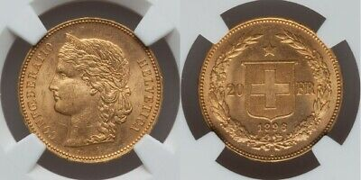 $627.77 • Buy Rare 1896 B Beautiful Gold Coin Swiss Confederation Twenty Francs NGC MS62