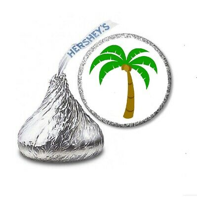108 PALM TREE LUAU Birthday Party Favors Stickers Labels For Hershey Kiss • 2.13£