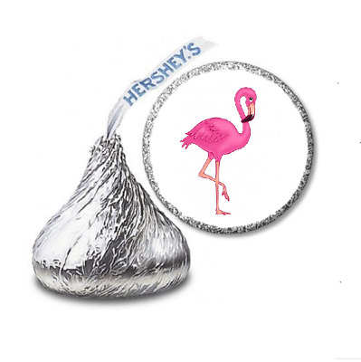 108 PINK FLAMINGO LUAU Birthday Party Favors Stickers Labels For Hershey Kiss • 2.13£