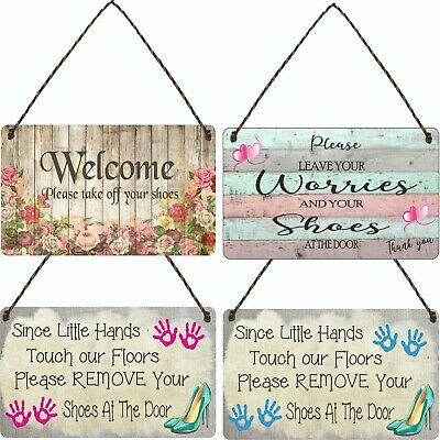 £3.99 • Buy Welcome Please Take Off Your Shoes Hanging Plaque Sign House Porch Decor Gift 2