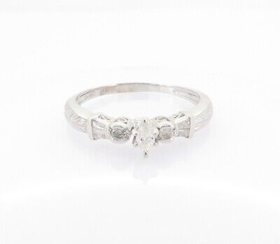 AU789 • Buy .Vintage 0.28ct Marquise & Baguette Diamond 14k White Gold Ring Val $2350