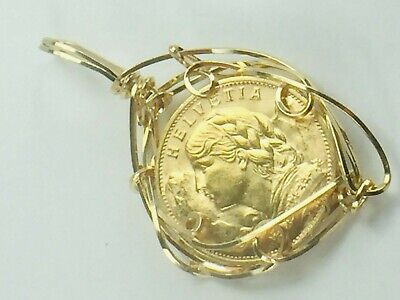 $410 • Buy Circa 1930's 20 Swiss Franc Gold Coin In Hand Made Gold Tone Wire Pendant 8.5gm