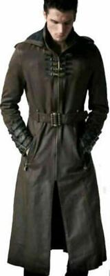 Mens Gothic Long Trench Coat Steampunk Hooded Halloween Style  - Green Coat • 140£