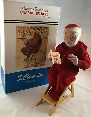 $34.88 • Buy Santa Norman Rockwell Porcelain Character Doll Figurine Collectors Edition 1984