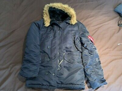 $ CDN310.26 • Buy Genuine Alpha Industries Navy N-3B Hooded Extreme Cold Weather Parka Size(M)
