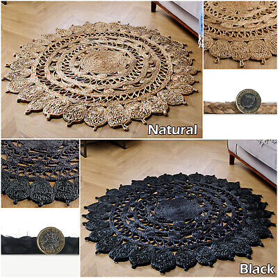 Black Natural Jute Durable Thick Dining Rooms New Circle Round Kitchen Room Rugs • 61.99£